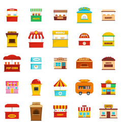 street food kiosk icons set flat style vector image vector image
