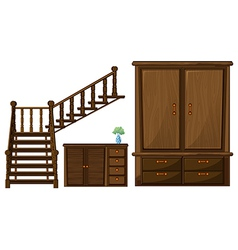 A stair and wooden furnitures vector image
