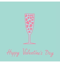 Champagne glass with hearts inside Blue and pink vector image vector image