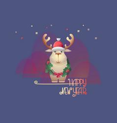 christmas deer and handwritten words happy new vector image