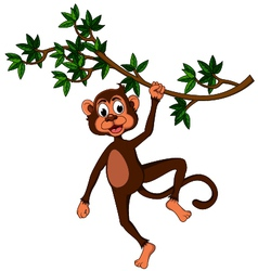 Cute monkey on a tree vector image vector image