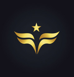 gold wing star america logo vector image vector image