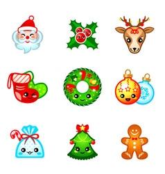 Kawaii Christmas icons vector image vector image