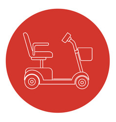 Line art style mobility scooter icon vector