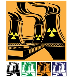 nuclear power station set vector image