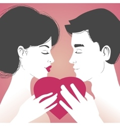 Young couple with heart on pink background vector image vector image