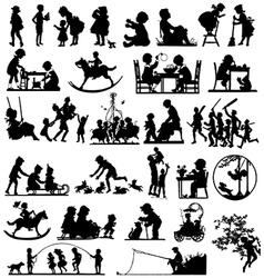 Children silhouettes children playing vector image vector image
