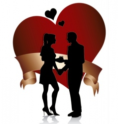 couple silhouette with heart a vector image