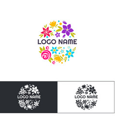 many flowers logo two vector image vector image