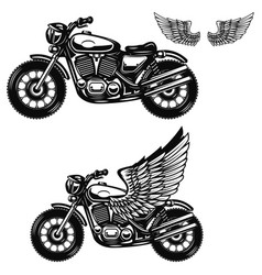 motorcycle on white background winged motorbike vector image