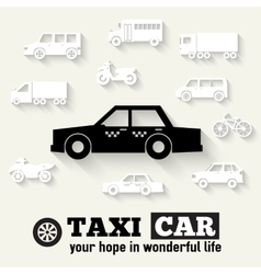 Flat taxi car background concept Tamplate for web vector image