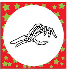 hand drawn skeleton hand holding invisible card vector image vector image