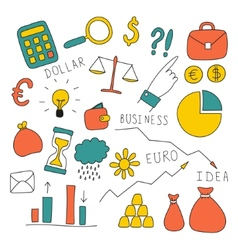 Set of doodle business and finance elements vector image vector image