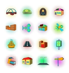 Urban infrastructure icons set pop-art style vector image