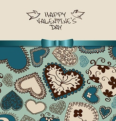Valentines greeting card with heart pattern vector image vector image