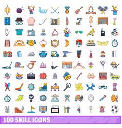 100 skill icons set cartoon style vector