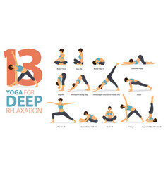 13 yoga poses for workout in deep relaxation vector