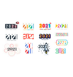 2021 logo set for greeting cards happy new year vector image