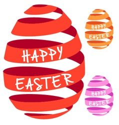 3D ribbon Easter eggs vector image