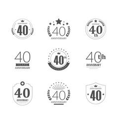 40 years anniversary logo set 40th anniversary vector