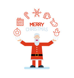 a santa claus old man character in red with his vector image