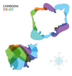 Abstract color map of cambodia vector