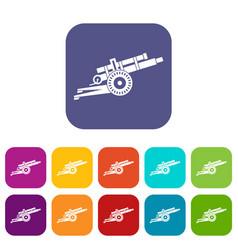 Artillery gun icons set vector