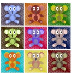 Assembly flat shading style icons koala toy vector