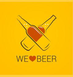 beer bottle concept we love beer design on yellow vector image