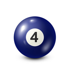 Billiardblue pool ball with number 4snooker vector