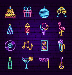 birthday party neon icons vector image