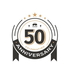 Birthday vintage logo template to 50th anniversary vector