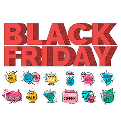 black friday sale label stickers set isolated tags vector image