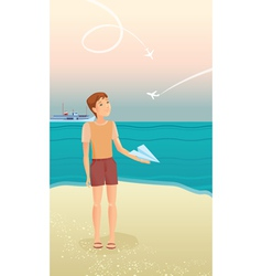 Boy and airplanes vector image