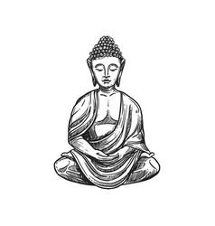 Buddha meditation buddhism religion symbol sketch vector