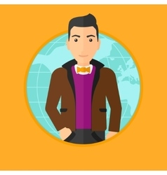 Business man taking part in global business vector