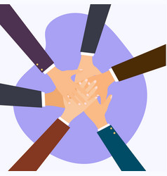 business people putting their hands together flat vector image
