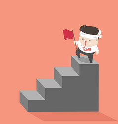 businessman on top stairs vector image
