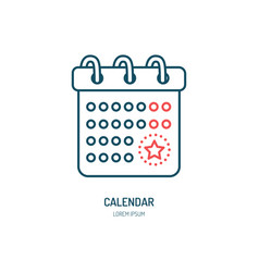 Calendar line icon logo for event vector