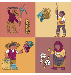 Cards with sugar banana collector vineyard owner vector