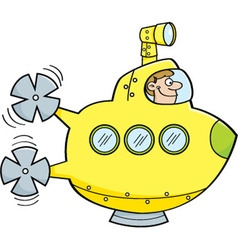 Cartoon man in a submarine vector