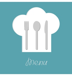 Chef hat with fork spoon and knife inside Menu vector image