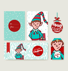 christmas holiday card template cartoon elf set vector image