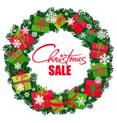 christmas sale poster wreath with gift boxes vector image