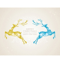 Christmas vintage deer greeting card vector