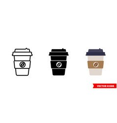 coffee icon 3 types color black and white vector image