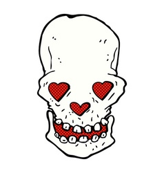 Comic cartoon skull with love heart eyes vector