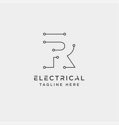 Connect or electrical r logo design icon element vector