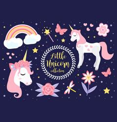 cute little unicorn set modern cartoon style vector image