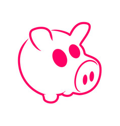 Cute pinky pig outline graphic design vector